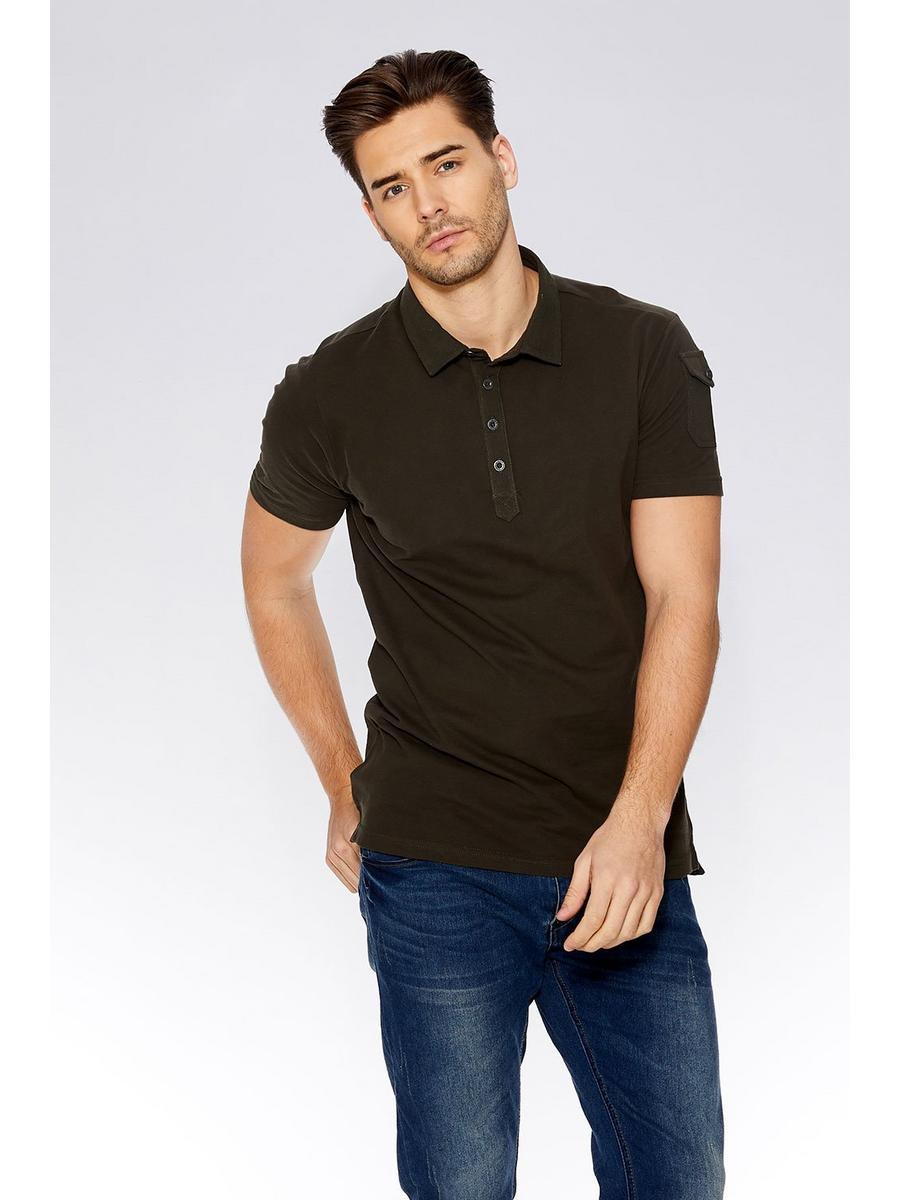 Khaki Pocket Sleeve Polo Shirt