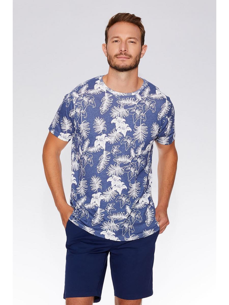 Blue & White Flower Print T-Shirt