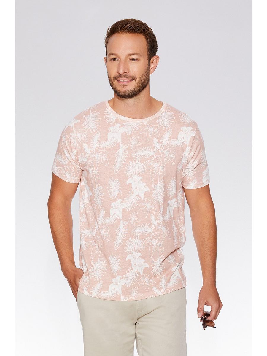 Pink & Ecru Flower Print T-Shirt