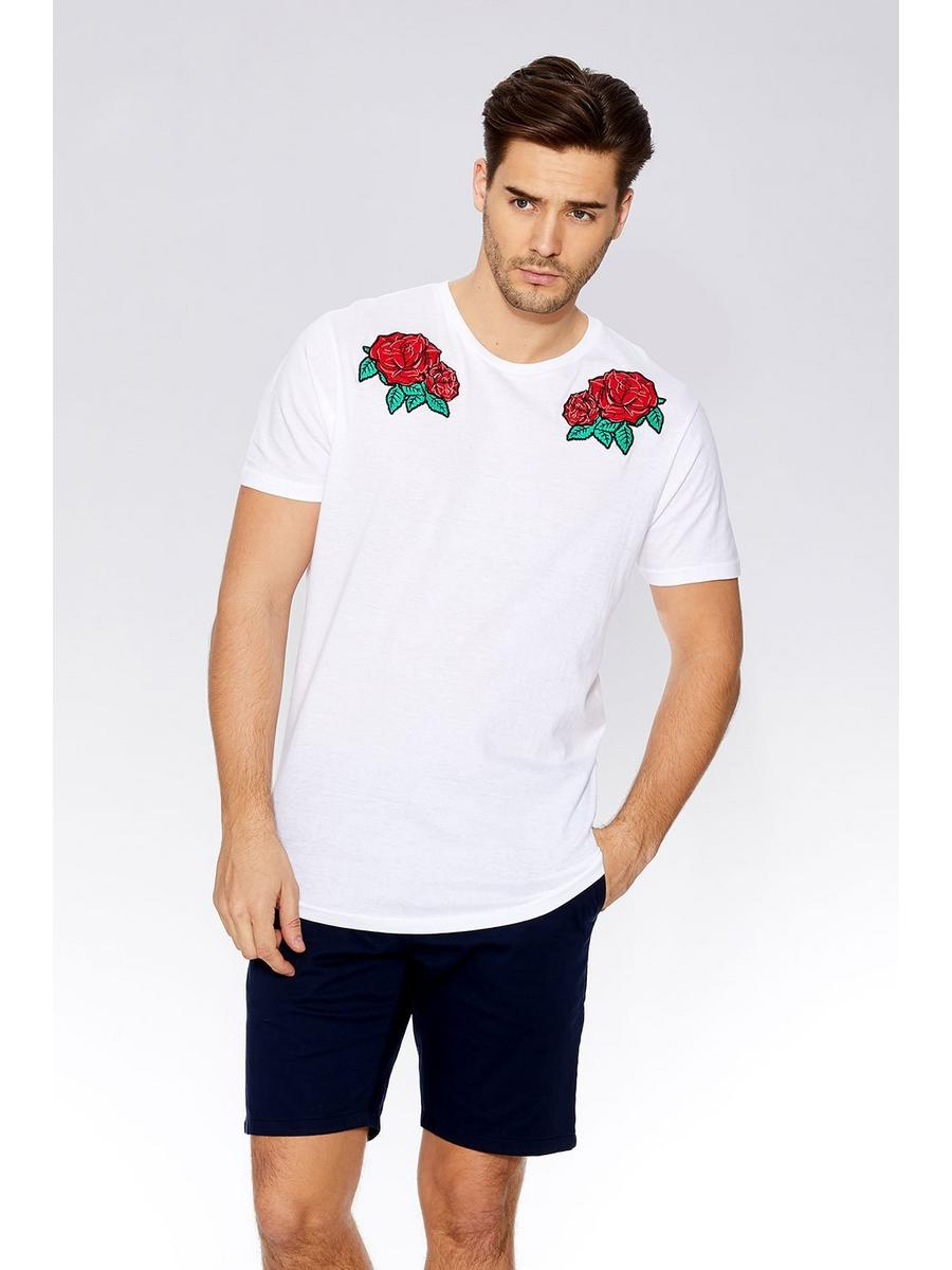 White Rose Embroidered T-Shirt
