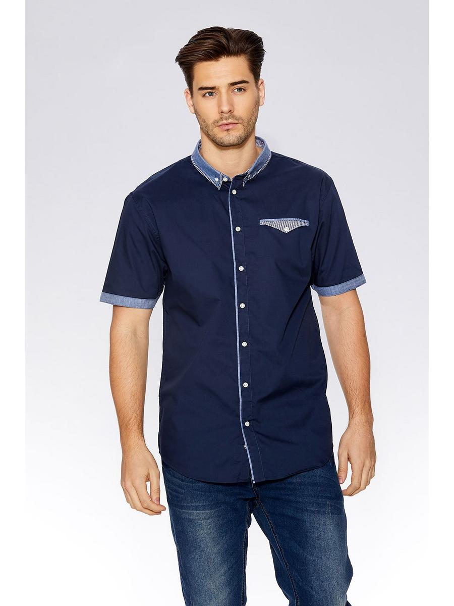 Navy Chambray Collar Short Sleeve Shirt
