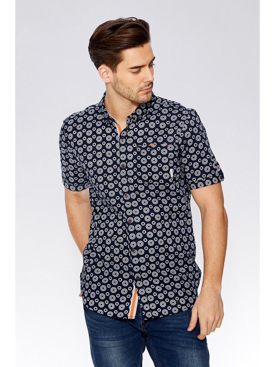 Navy Geometric Short Sleeve Shirt