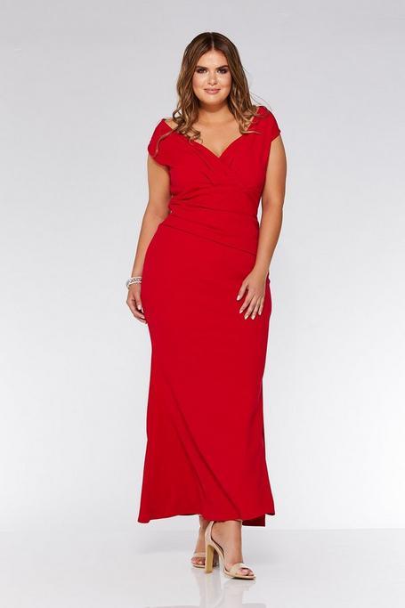 Plus Size Red Off The Shoulder Wrap Maxi Dress