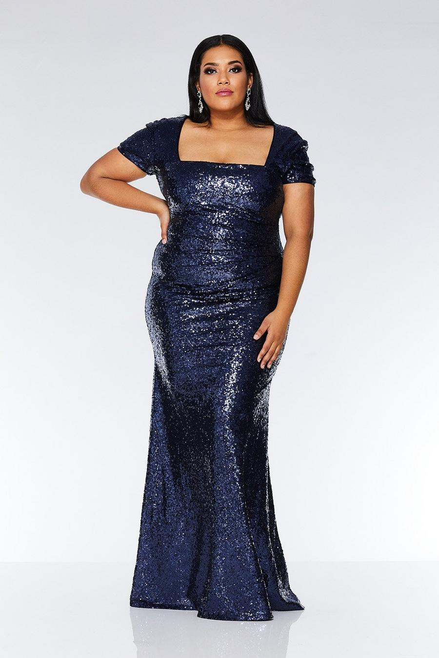 great deals 2017 check out to buy Curve Navy Sequin Maxi Dress