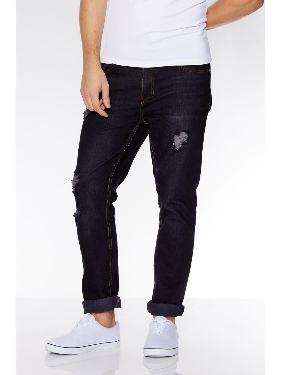 Dark Blue Ripped Detail Slim Fit Jeans