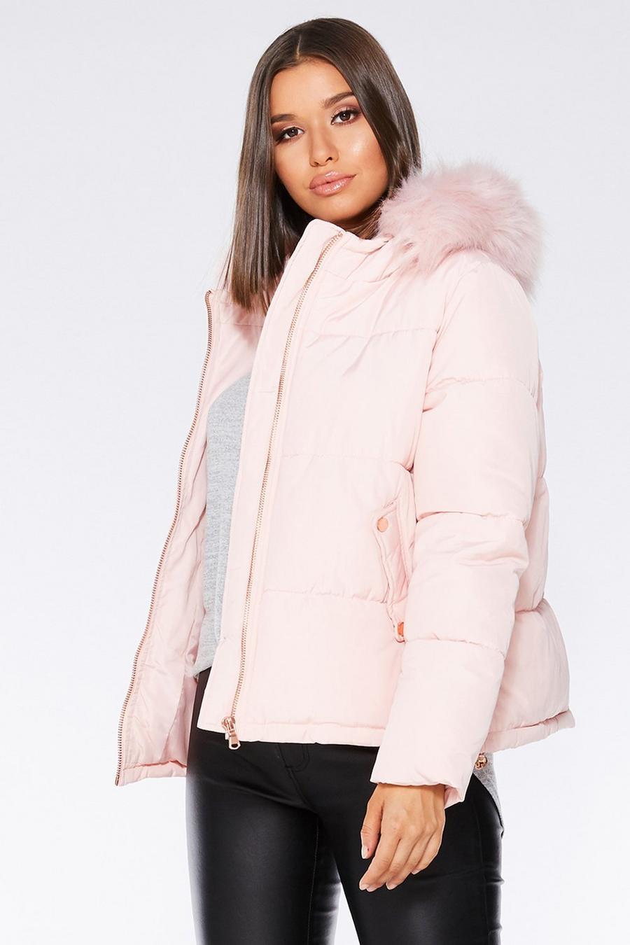 8248e42bb Pink Faux Fur Trim Puffer Jacket - Quiz Clothing