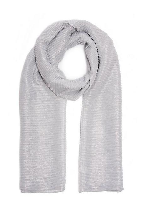 Silver Shimmer Ribbed Scarf