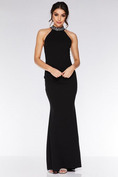 Black Embellished Back Fishtail Maxi Dress