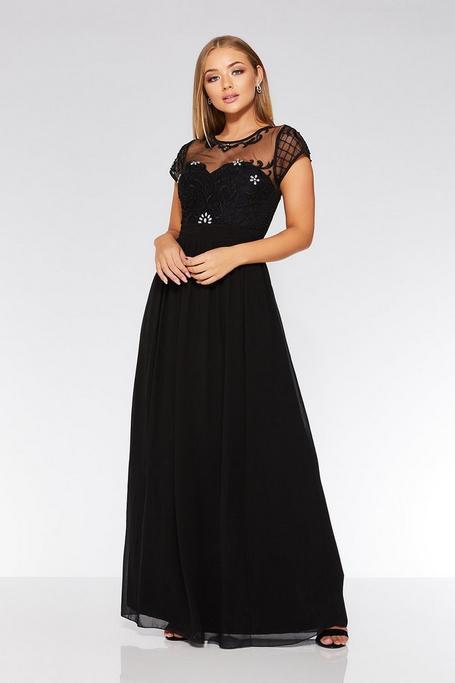 Black Chiffon Embellished Maxi Dress
