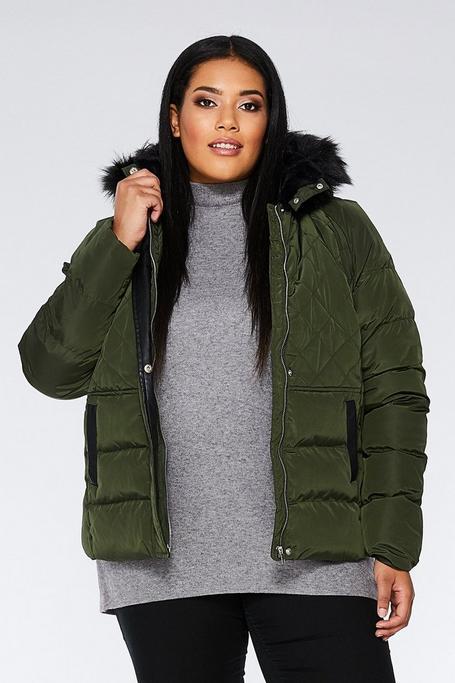 Curve Khaki Padded Faux Fur Hood Jacket