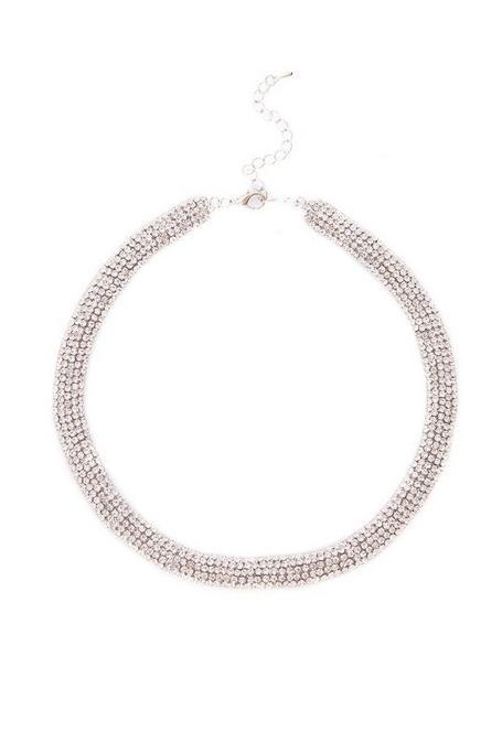 Silver Diamante Short Necklace