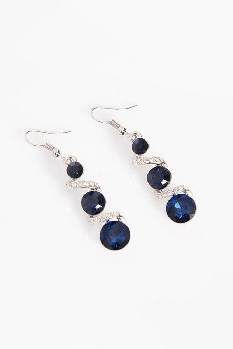 Navy And Silver Drop Earrings