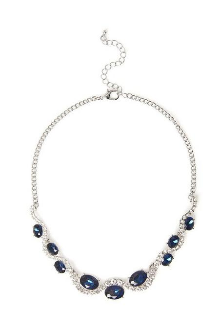 Silver And Navy Jewel Necklace