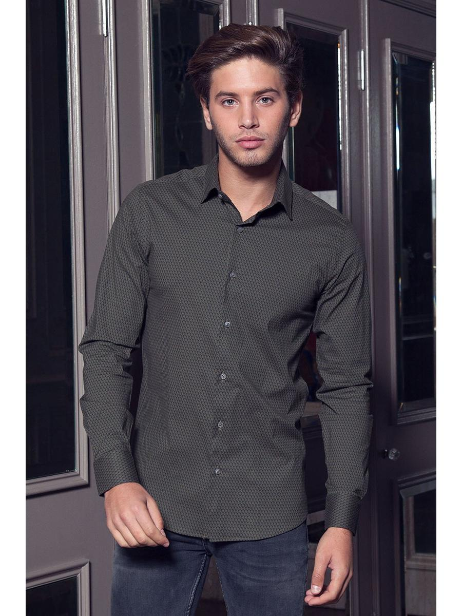 Khaki Long Sleeve Geometric Shirt