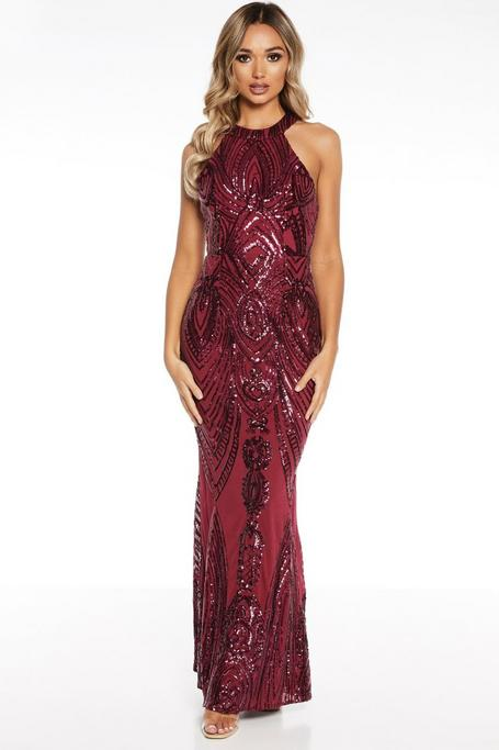 Berry Sequin High Neck Fishtail Maxi Dress