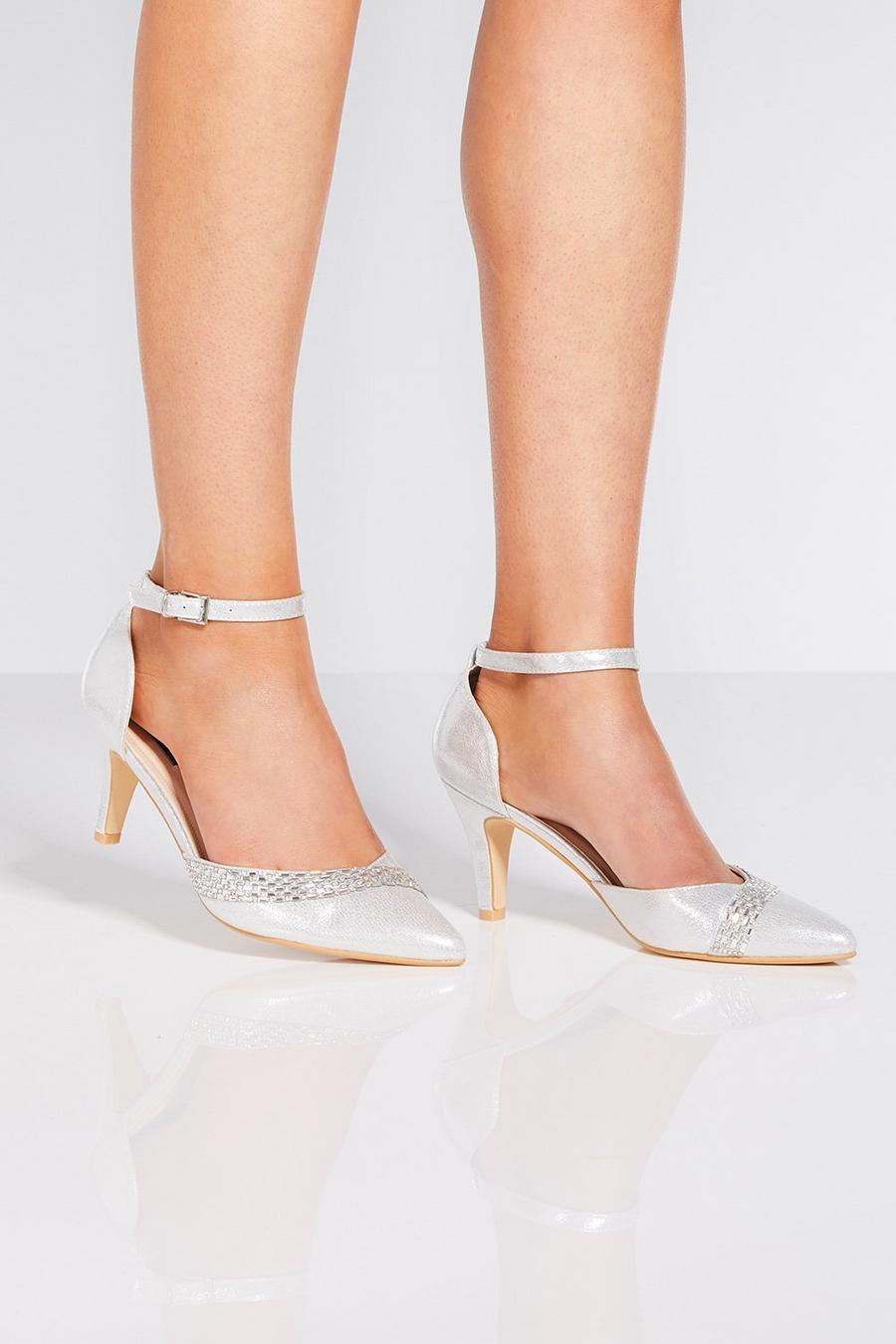 c5bd7ed135d Silver Shimmer Diamante Low Heels