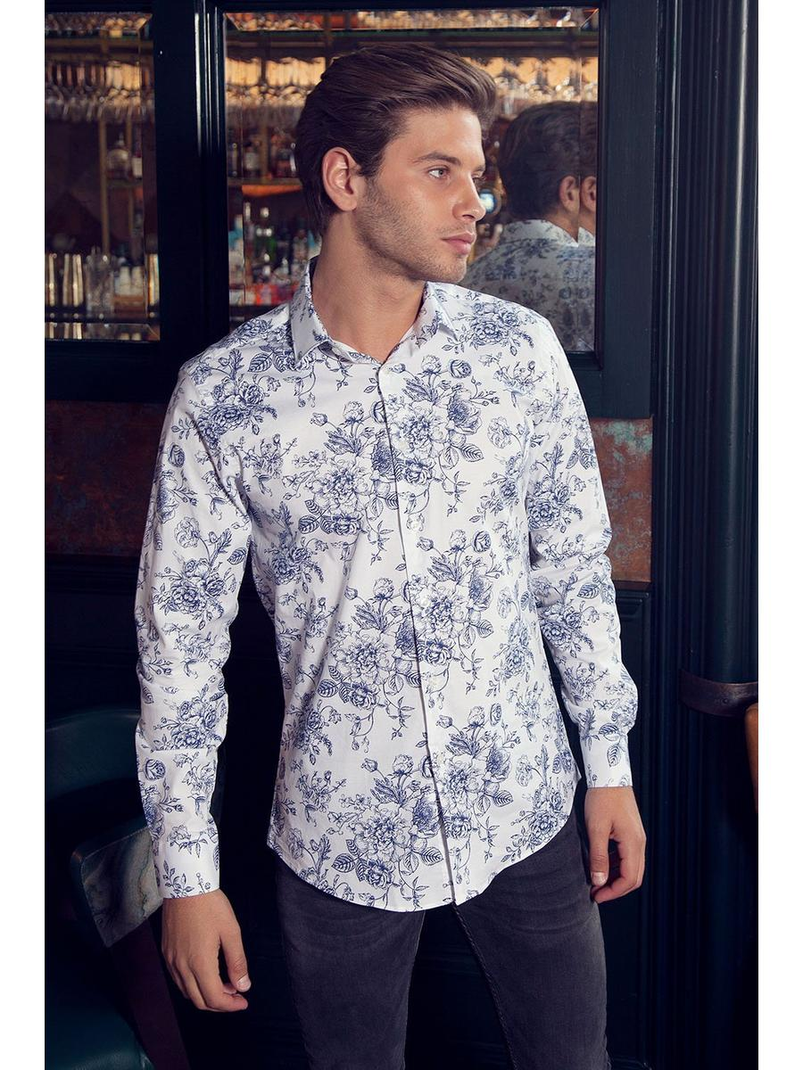 White And Blue Long Sleeve Floral Shirt