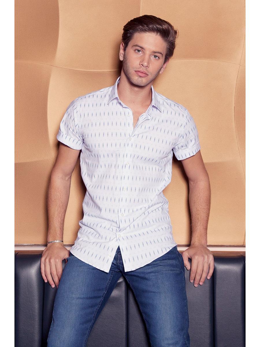 White And Navy Short Sleeve Geometric Shirt