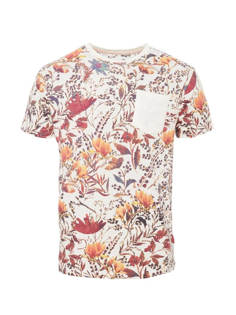 White & Red Floral Print T-Shirt