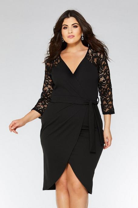 Plus Size Black Lace 3/4 Sleeve Dress