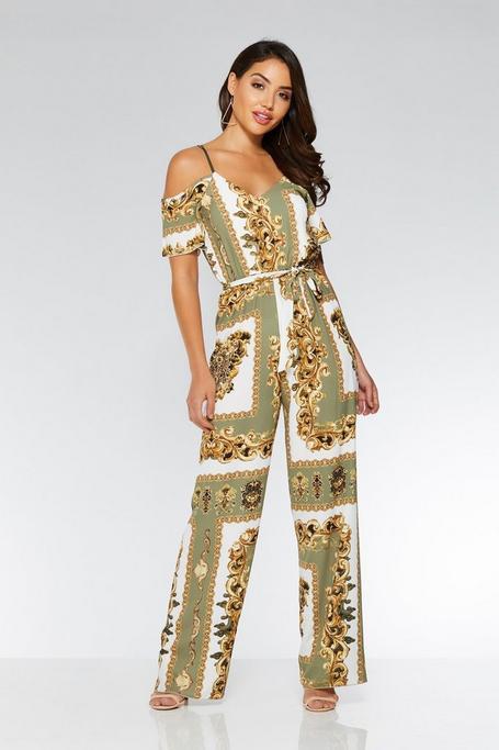 Khaki Scarf Print Jumpsuit