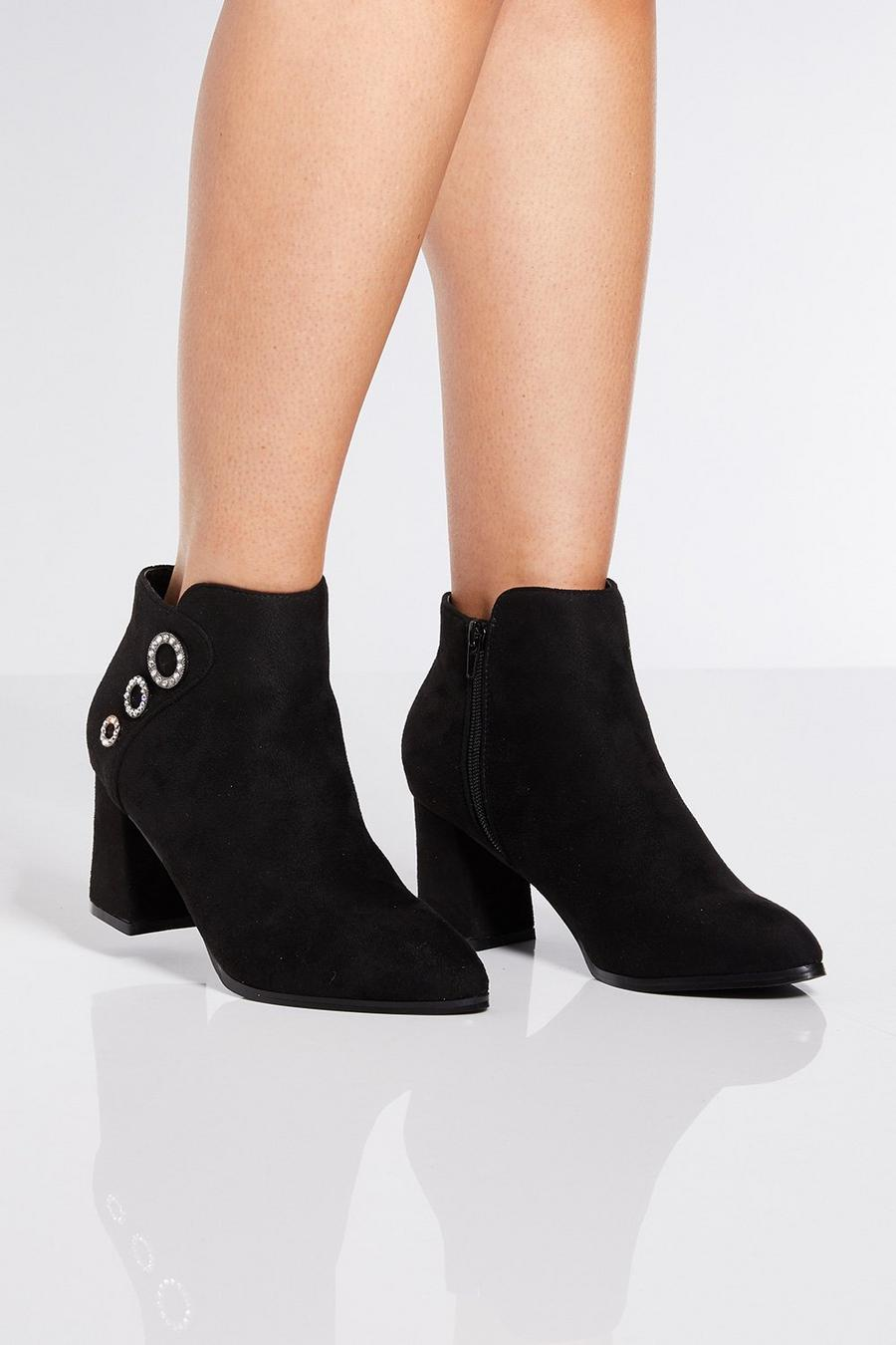 8fe1bbb0e15 Black Triple Circle Block Heel Ankle Boots