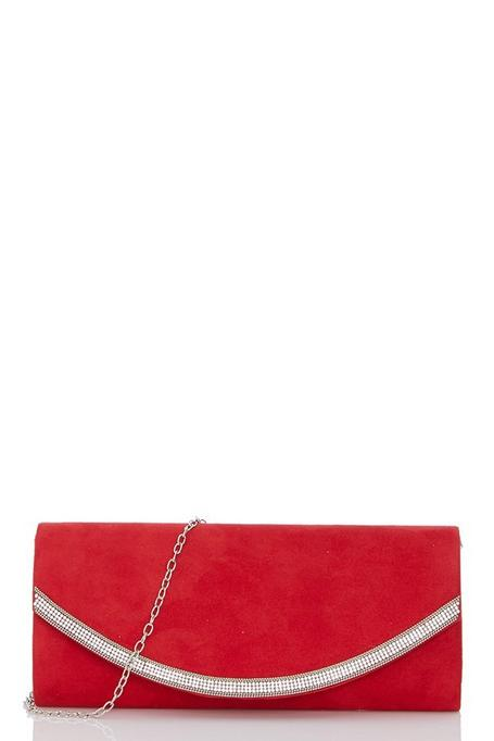 Red Faux Suede Diamante Curve Trim Bag