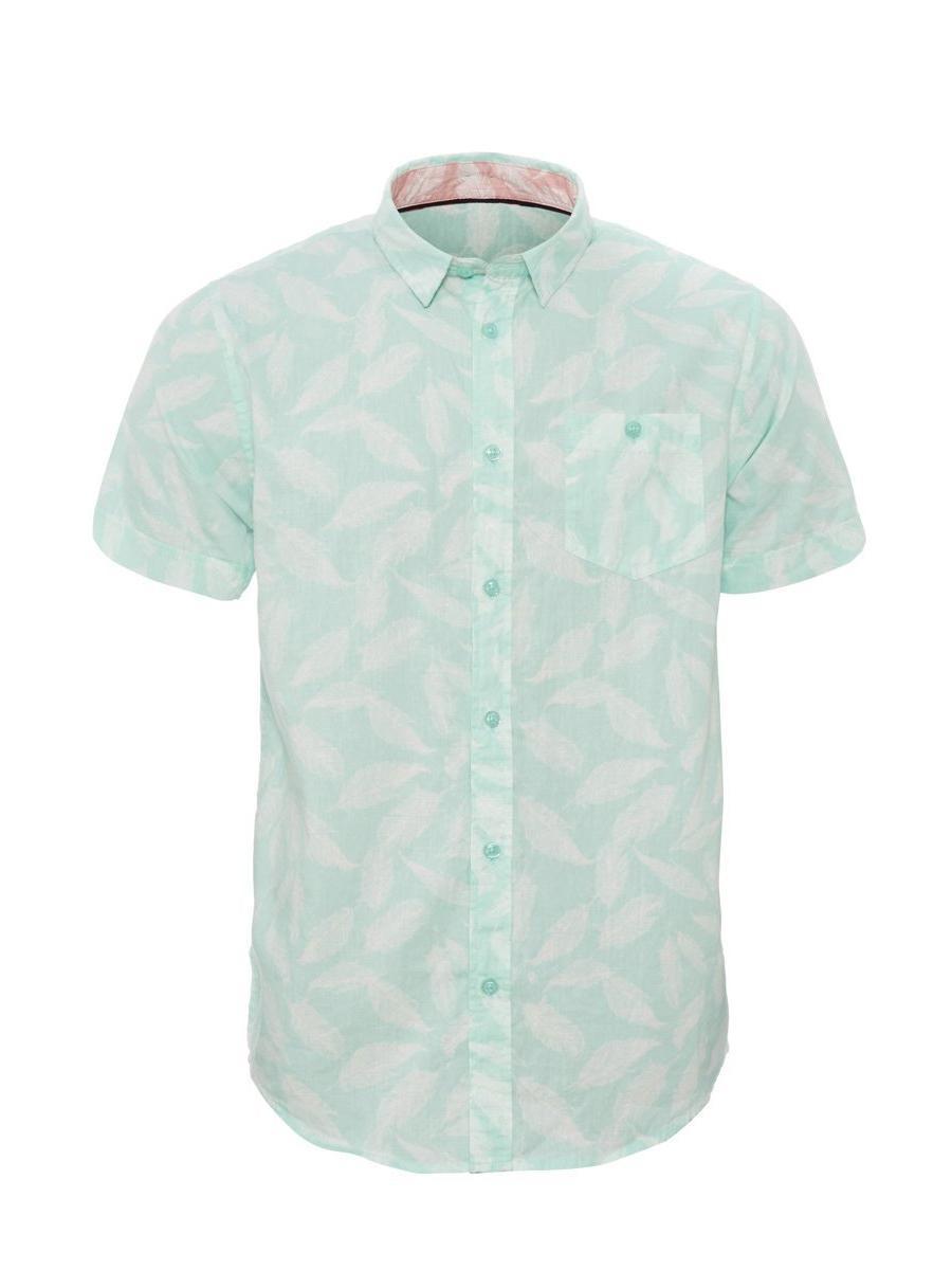 Aqua Feather Print Short Sleeve Shirt