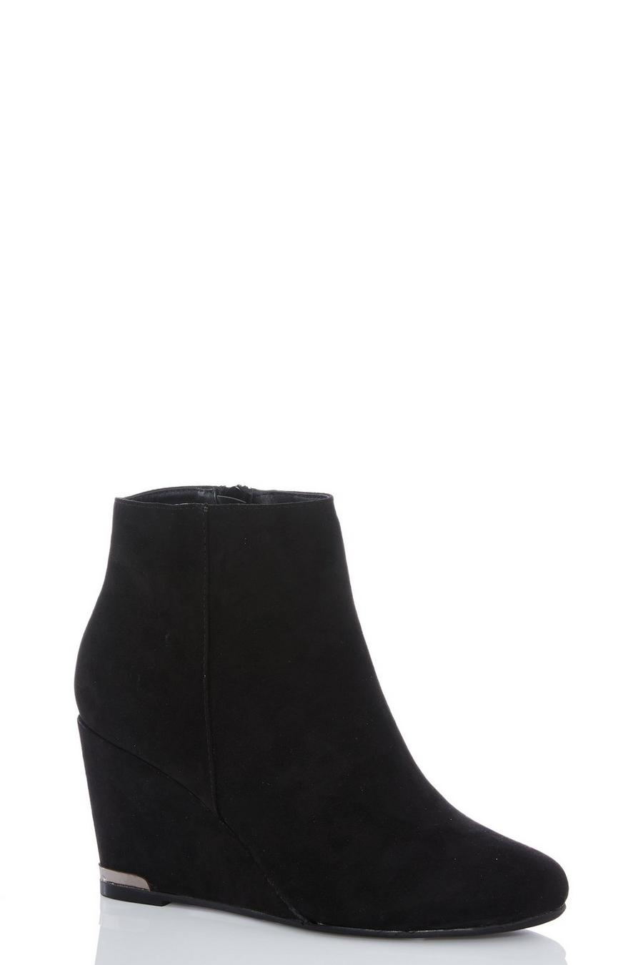 9bc0d1a29d9 Black Faux Suede Wedge Heel Ankle Boots