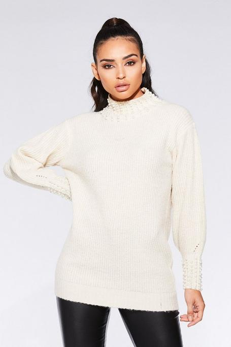Cream Knit Pearl Sweater
