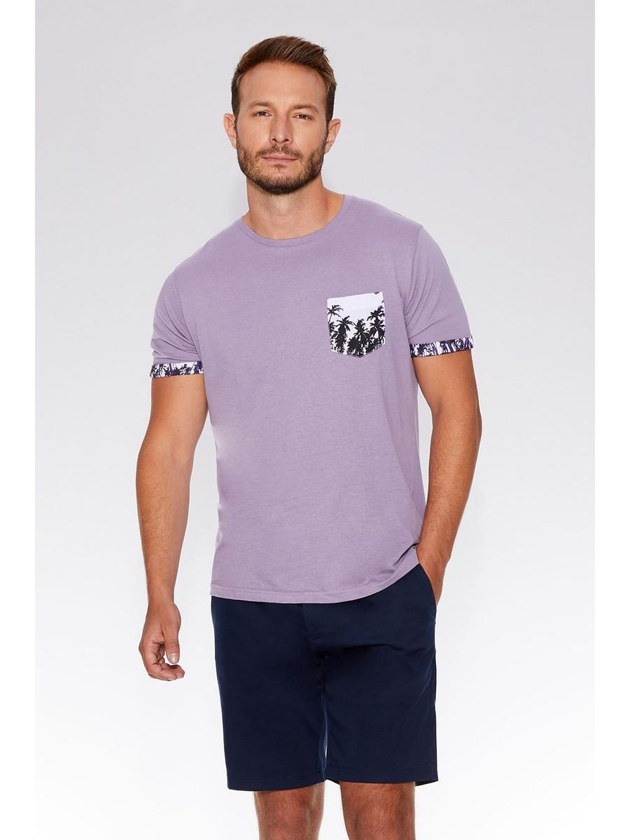 Lilac Printed Pocket T-Shirt