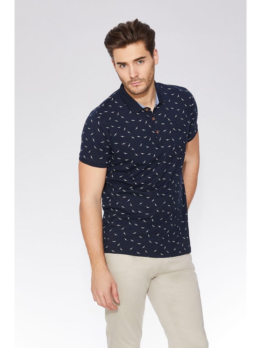 Navy Bird Print Polo Shirt