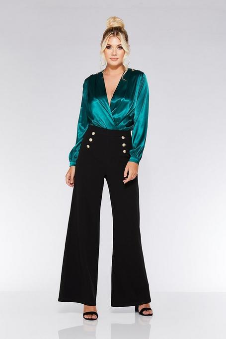 Black Gold Button Palazzo Trousers