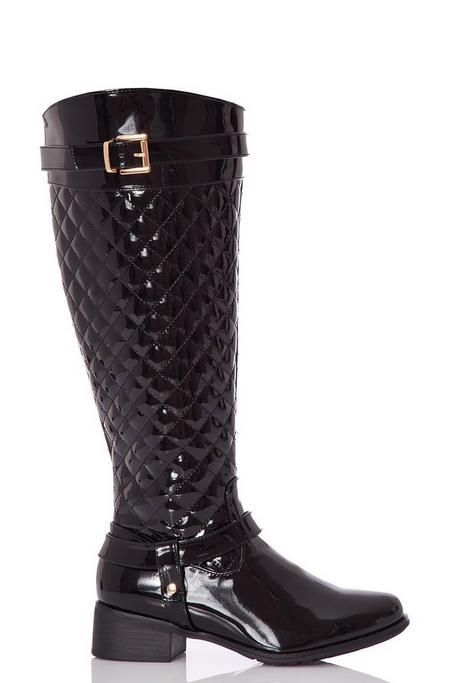 Black Patent Quilted Knee High Boots