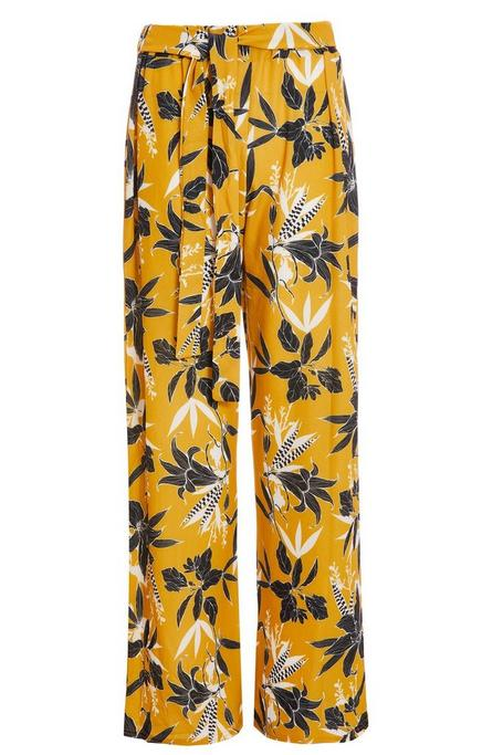 Mustard Floral Wide Leg Trousers