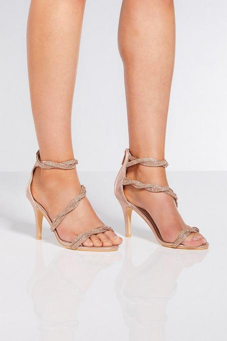 Rose Gold Diamante Twist Heels