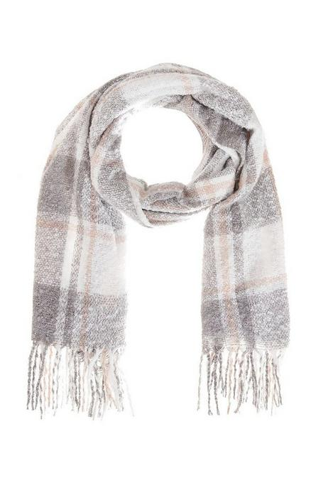 Pink And Grey Check Print Knit Scarf