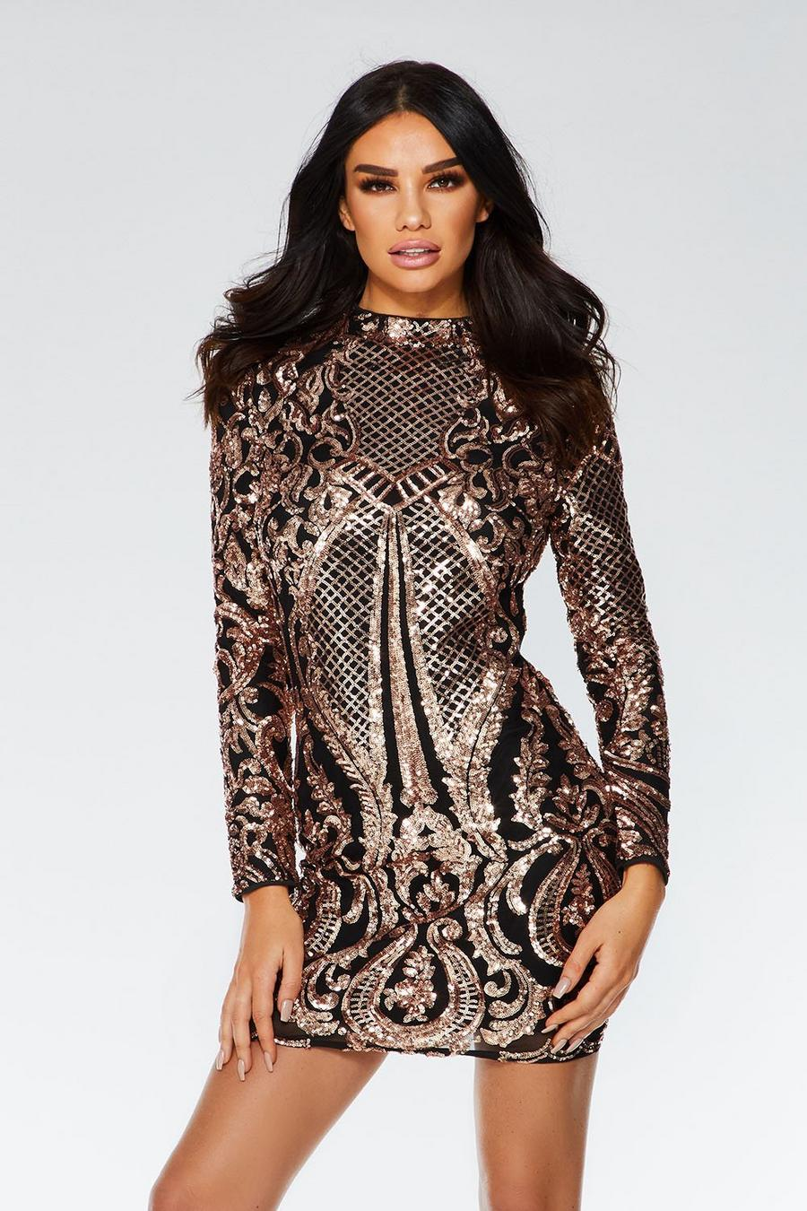 97b1e2861f Black and Rose Gold Sequin Bodycon Dress