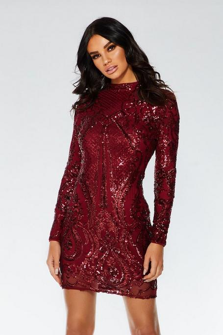 Berry Sequin Bodycon Dress