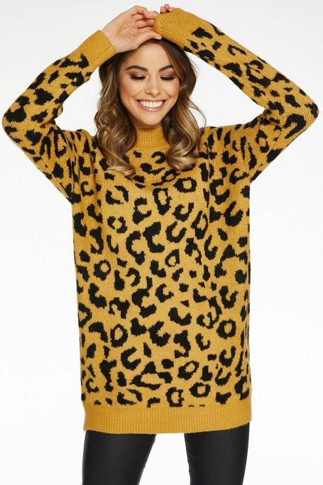 Mustard And Black Leopard Print Sweater