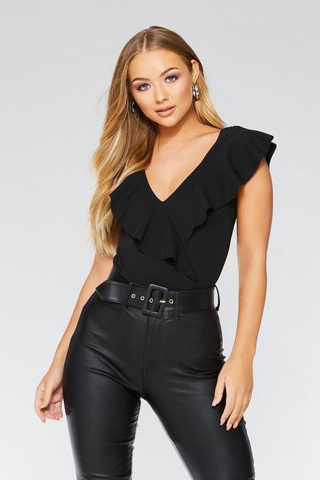 Black Frill Bodysuit