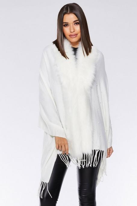 White Pearl Faux Fur Trim Cape
