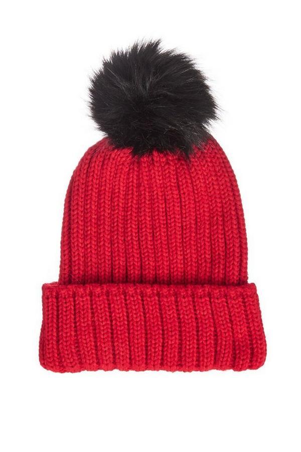Gorro Rojo de Punto con Pompón Negro