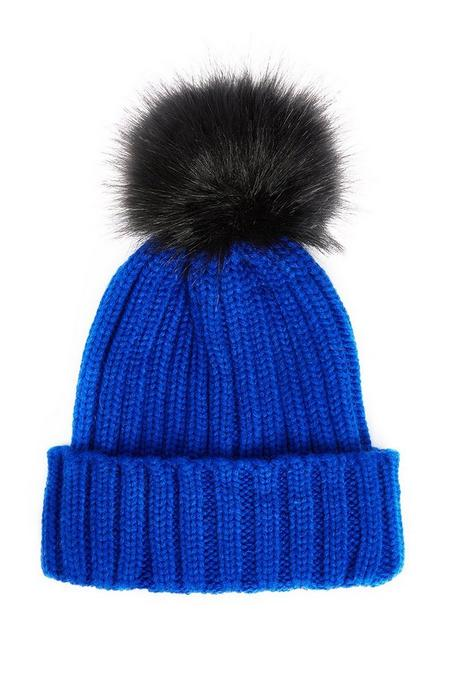 Blue And Black Pom Knit Hat