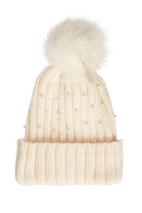 Cream Pearl Knit Pom Hat