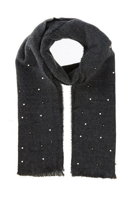 Grey Pearl Knit Scarf