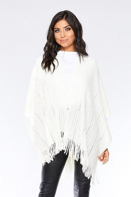 White Sequin Knit Cape