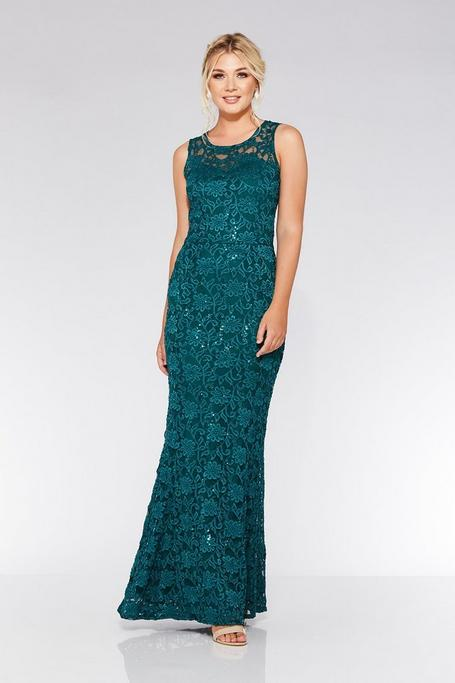 Bottle Green Lace Sequin Fishtail Maxi Dress