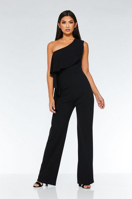 Black One Shoulder Frill Palazzo Jumpsuit