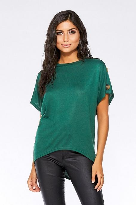 Bottle Green Button Detail Oversized Top